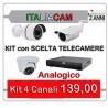 Kit Videosorveglianza 4 Canali 960H 4 Telecamere + Alimentatori