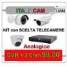 Kit Videosorveglianza 4 Canali 960H 2 Telecamere + Alimentatori