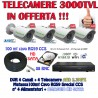 Kit Videosorveglianza 4 Canali AHD 720P 4 Telecamere 3000TVL + HD + Cavi Video