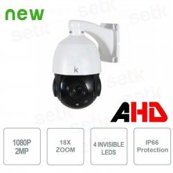 Telecamera Speed Dome PTZ AHD 2MP 18X Zoom LED NOTTURNI INVISIBILI