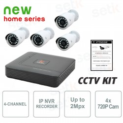 Kit Videosorveglianza 4 Canali IP 2Mpx + 4 Cam IP 720P No HD - Serie Home - KITH-4-4-IP-0GB-HD