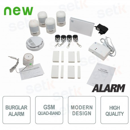 Kit Allarme Wireless GSM Casa Antifurto Senza Fili Perimetrale da interno PIR - AL-KIT4W-GEN1