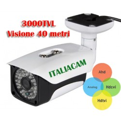 Telecamera HD IBRIDA -3Mpx 720P 3.6mm Visione 40 metri 48IR