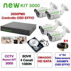 NUOVO KIT 3000 DVR 4 Canali AHD 1080N 4 Telecamere 3000TVL + HD + Prolunghe