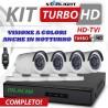 NUOVO KIT 3000 STARLIGHT  DVR 4 Canali AHD 1080N 4 Telecamere 3000TVL + HD + CAVI