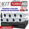 NUOVO KIT 3000 STARLIGHT  DVR 8 Canali AHD 1080N 8 Telecamere 3000TVL + HD + CAVI