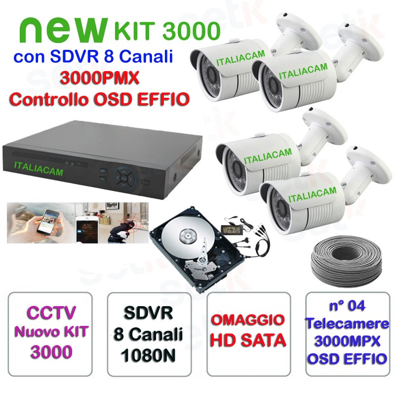 HD 4 Telecamere STARLIGHT IR  3000TVL Kit Completo Videosorveglianza SDVR