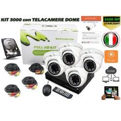 Kit Videosorveglianza 4 Canali 3000 con 4 Telecamere 3000TVL DOME + VHD + CAVI