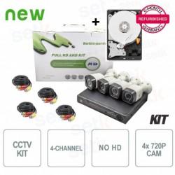 Kit Videosorveglianza 4 Canali AHD 720P 1MP + HD Omaggio! - Setik - ST-4KITAHD7204B