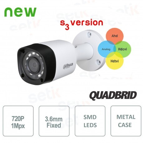 Telecamera HD 720P Dahua 4in1 HDCVI / HDTVI / AHD / ANALOGICA 3.6mm - HAC-HFW1000RM