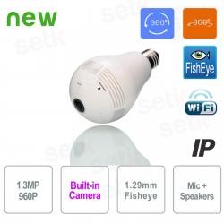 TELECAMERA IP WIFI LAMPADINA 960P IR PANORAMICA - LAMP720P