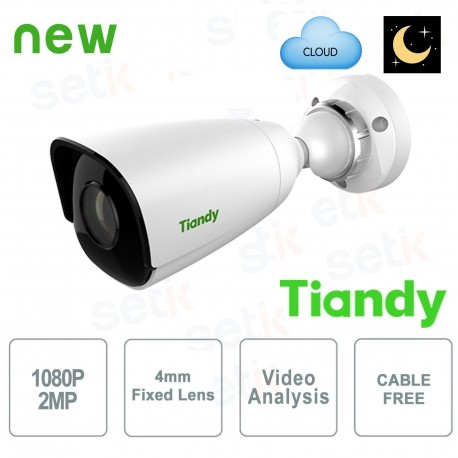 Telecamera IP Mini Bullet 2MP Starlight 4mm CableFree Video Analisi WDR - Tiandy - TC-NC214S