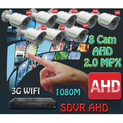 Kit Videosorveglianza 8 Canali AHD 720P 8 Telecamere 3000TVL + HD 250GB