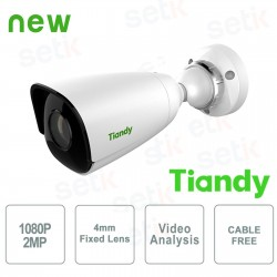 Telecamera IP Mini Bullet 2MP 4mm CableFree Video Analisi WDR - Tiandy - TC-NC214