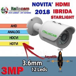 """Telecamera Bullet Ibrida 4in1 """"Analogica/Ahd/Hdcvi/Hdtvi"""" 720P 3.6mm Starlight SMD"""