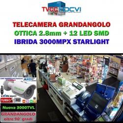 "Telecamera GRANDANGOLO  Bullet Ibrida 4in1 ""Analogica/Ahd/Hdcvi/Hdtvi"" 720P 2.8mm Starlight SMD"