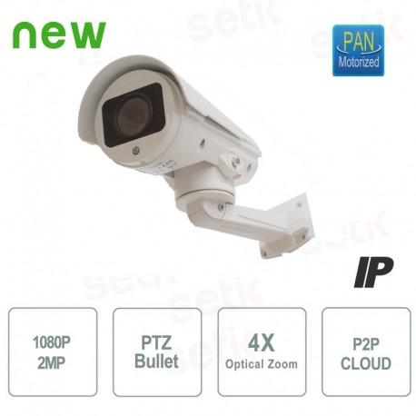 TELECAMERA MOTORIZZATA IP BULLET PTZ - 2MEGAPIXEL 1080P FULL-HD - 4X ZOOM - CLOUD P2P