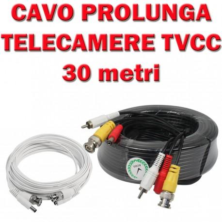 CAVO PROLUNGA PER TELECAMERE TVCC da 10 Metri Bianco o Nero