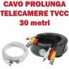 CAVO PROLUNGA PER TELECAMERE TVCC da 30 Metri Bianco o Nero