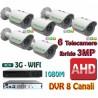 Kit Videosorveglianza 8 Canali AHD 720P 6 Telecamere 3000TVL No HD