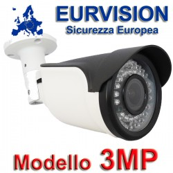 "Telecamera EURVISION 3MP Bullet Ibrida 4in1 ""Analogica/Ahd/Hdcvi/Hdtvi"" XVI 1080P 4mm Starlight"