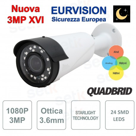 "Telecamera EURVISION 3MP XVI Ibrida 4in1 ""Analogica/Ahd/Hdcvi/Hdtvi"" XVI 1080P 4mm Starlight"