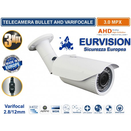"Telecamera EURVISION VARIFOCAL Ibrida 5in1 ""Analogica/Ahd/Hdcvi/Hdtvi/HDXVI "" 1080P 2.8-12mm"