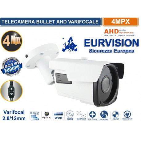 "TELECAMERA EURVISION 4MP VARIFOCAL  IBRIDA 5IN1 ""ANALOGICA/AHD/HDCVI/HDTVI/HDXVI "" 1080P 2.8-12MM"