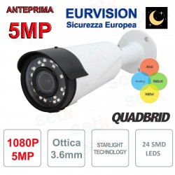 "TELECAMERA EURVISION 5MP IBRIDA 4IN1 ""ANALOGICA/AHD/HDCVI/HDTVI""1080P 4MM STARLIGHT"
