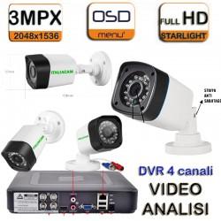 KIT VIDEOSORVEGLIANZA XVR + 4 Telecamere HD-CVI 3 MPX + HD SATA + Alim